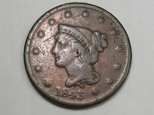 1843 US BRAIDED HAIR LARGE CENT COIN  PETITE HEAD .  8