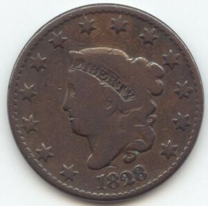 1828 CORONET HEAD LARGE CENT LARGE DATE NICE VG