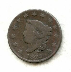 1825   CORONET HEAD   LARGE CENT   VG
