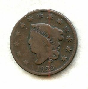 1825   CORONET HEAD   LARGE CENT   CH VG