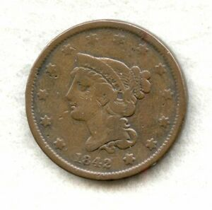 1842 SMALL DATE   BRAIDED HAIR   LARGE CENT   CH VG
