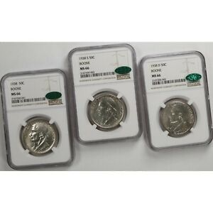 Click now to see the BUY IT NOW Price! 1938 BOONE 50C P D S NGC CAC CERTIFIED MS66 SET OF 3 GEM MINT STATE SILVER COINS