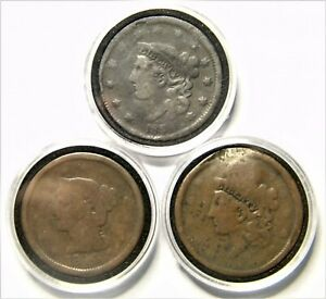 LOT OF 3 U. S. MINT LIBERTY HEAD BRAIDED HAIR LARGE CENTS. 1838 1844 & UNKNOWN.