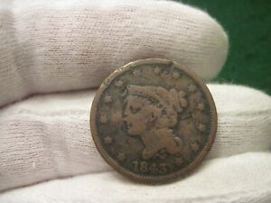 1843 LARGE CENT RED BOOK VARIETY PETITE HEAD SMALL LETTERS