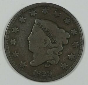 1829 CORONET HEAD LARGE CENT GOOD 1C