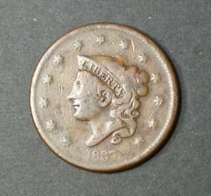 OLD US COPPER 1837 CORONET HEAD LARGE CENT PENNY  BETTER DATE LOT