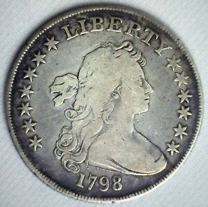 1798 LARGE EAGLE US TYPE SILVER DOLLAR COIN YOU GRADE CIRCULATED LETTERED EDGE