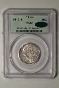 Click now to see the BUY IT NOW Price! 1913 S BARBER QUARTER. PCGS MS 64 CAC