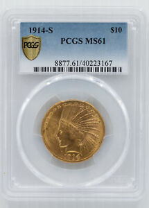 1914 S INDIAN HEAD EAGLE. PCGS MS 61