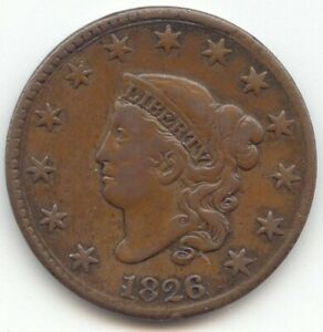 1826 CORONET HEAD LARGE CENT SMOOTH BROWN VF N 6