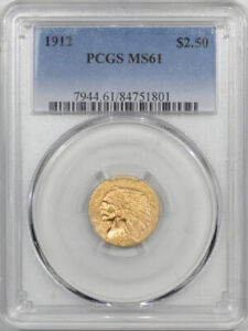 1912 $2.50 INDIAN GOLD   PCGS MS 61