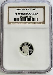 2006 W PLATINUM $10 PROOF AMERICAN EAGLE 1/10 OZ COIN NGC PF 70 UC