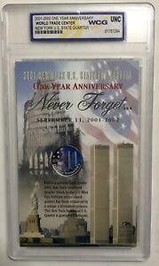 WCG COLORIZED 2001 NEW YORK QUARTER 9/11 WORLD TRADE CENTER ONE YEAR ANNIVERSARY