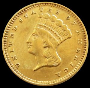 1862 GOLD USA INDIAN PRINCESS HEAD $1 DOLLAR TYPE 3 COIN ABOUT UNCIRCULATED