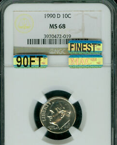 Click now to see the BUY IT NOW Price! 1990 D ROOSEVELT DIME NGC MS 68 90FT PQ MAC FINEST MAC SPOTLESS $12 000 IN FT .