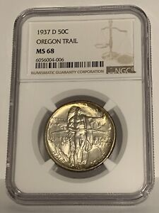 Click now to see the BUY IT NOW Price! 1937 D OREGON TRAIL 50C NGC MS 68 EARLY SILVER COMMEMORATIVE HALF DOLLAR TONED
