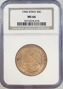 1946 IOWA COMMEMORATIVE SILVER HALF DOLLAR CERTIFIED MS 66 BY NGC
