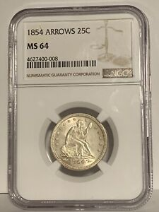 Click now to see the BUY IT NOW Price! 1854 SEATED LIBERTY QUARTER ARROWS NGC MS 64    SUPER SHARP