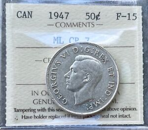 Click now to see the BUY IT NOW Price! 1947 ML CR 7 CANADA SILVER HALF DOLLAR 50 CENT COIN   ICCS F 15
