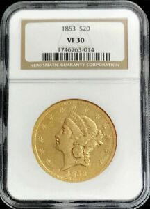 1853 GOLD UNITED STATES $20 LIBERTY DOUBLE EAGLE TYPE 1 COIN NGC FINE 30