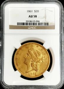 1861 GOLD $20 LIBERTY DOUBLE EAGLE TYPE 1 CIVIL WAR ERA COIN NGC ABOUT UNC 58