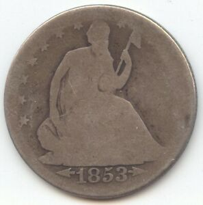 1853 ARROWS AND RAYS SEATED LIBERTY HALF DOLLAR PROBLEM FREE AG