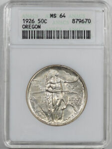 1926 OREGON COMMEMORATIVE HALF DOLLAR   ANACS MS 64 FRESH & PREMIUM QUALITY