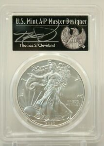 2020  P  SILVER EAGLE PCGS MS70 EMERGENCY FIRST DAY ISSUE THOMAS CLEVELAND 296