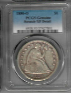 1850 O SEATED LIBERTY DOLLAR PCGS XF DETAIL