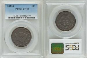 AND BEAUTIFUL 1823 MATRON HEAD DESIGN 3 OVER 2 VARIETY LARGE CENT PCGS VG10
