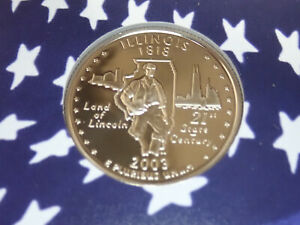 2003 ILLINOIS PROOF CLAD STATE QUARTER   OUT OF THE PROOF SET PERFECT