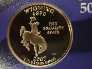 2007 WYOMING PROOF CLAD STATE QUARTER   OUT OF THE PROOF SET PERFECT