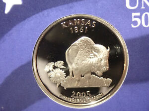 2005 KANSAS PROOF CLAD STATE QUARTER   OUT OF THE PROOF SET PERFECT