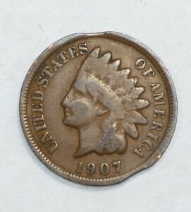 DOUBLE CLIPPED PLANCHET ERROR 1907 INDIAN HEAD CENT GOOD 1 CENT