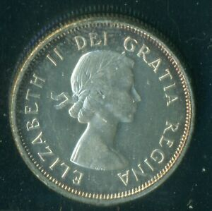 1958 CANADA QUEEN ELIZABETH II TWENTY FIVE CENT ICCS MS 64 HEAVY CAMEO   P88