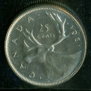 1961 CANADA QUEEN ELIZABETH II TWENTY FIVE CENT ICCS MS 62   P96
