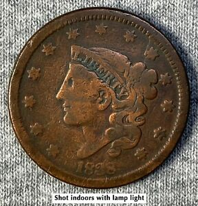 1838 CORONET HEAD LARGE CENT ATTRACTIVE COIN