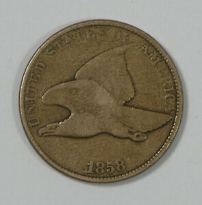 1858 FLYING EAGLE CENT WITH LARGE LETTERS FINE 1C