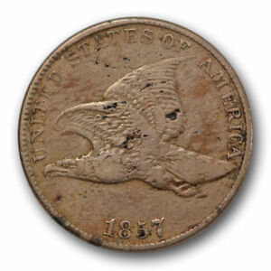 1857 CENT FLYING EAGLE FINE VF SNOW 4 DDO VARIETY COIN S 4 US COIN 6522