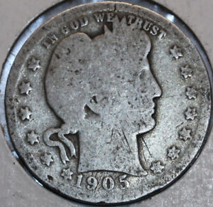1905 P BARBER QUARTER 90  SILVER. YOU WILL RECEIVE THE COIN SHOWN