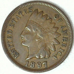 1897 INDIAN HEAD BRONZE PENNY ONE CENT 1C US PENNY FINE CIRCULATED COIN