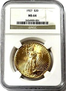 1927 GOLD $20 SAINT GAUDENS DOUBLE EAGLE COIN NGC MINT STATE 64
