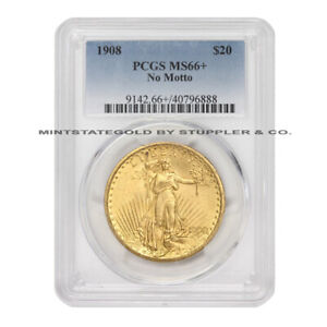 1908 $20 GOLD SAINT GAUDENS PCGS MS66  NM NO MOTTO DOUBLE EAGLE PHILADELPHIA