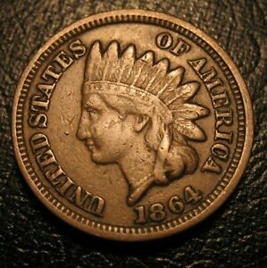 OLD US COINS 1864 INDIAN HEAD CENT COPPER NICKEL CIVIL WAR PENNY