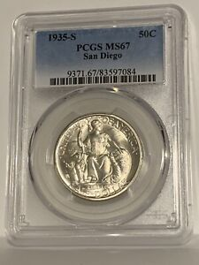 Click now to see the BUY IT NOW Price! 1935 S SAN DIEGO COMMEMORATIVE HALF DOLLAR PCGS MS 67