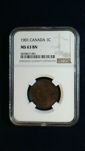 1901 CANADA LARGE CENT NGC MS63 BN 1C COIN PRICED TO SELL RIGHT NOW