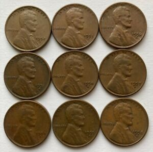 LOT OF 9 WHEAT PENNIES 1950 51 52 53 54 55 56 57 58 ALL DENVER MINT. NICE.