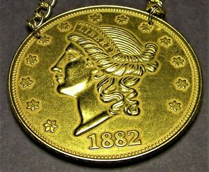 GIANT DOUBLE EAGLE NECKLACE. DISPLAY EITHER SIDE. MADE FROM A 3 INCH MEDALLION.