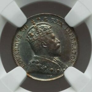 1902 CANADA SILVER COIN  FIVE CENTS KING EDWARD VII FACING RIGHT NGC AU58