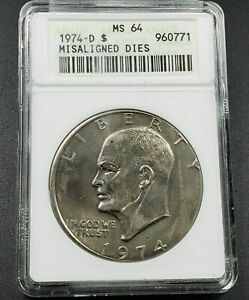 1974 D IKE $1 DOLLAR  MISALIGNED DIES ANACS MS 64   GREAT ERROR COIN  D2359QSCX2